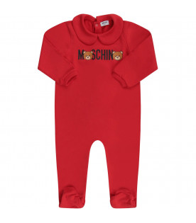 MOSCHINO KIDS Red baby set with logo and Teddy Bear
