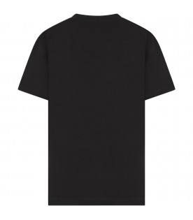 JEREMY SCOTT Black boy T-shirt with black logo