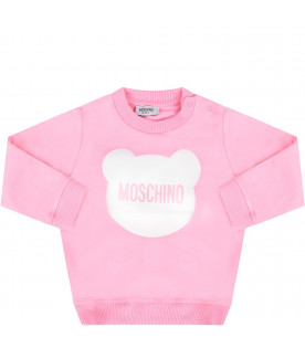 e9a53a4ca MOSCHINO KIDS Pink babygirl sweatshirt with white Teddy Bear ...