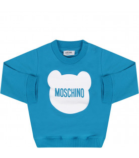 MOSCHINO KIDS Azure babyboy sweatshirt with white Teddy Bear