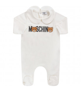 MOSCHINO KIDS White baby kids set with logo and Teddy Bear