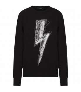 NEIL BARRETT KIDS Black boy sweatshirt with white embroideried thunder