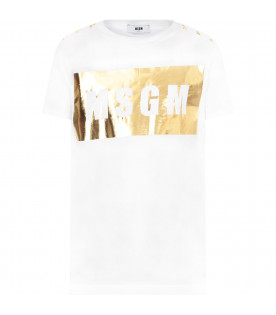 MSGM KIDS White girl t-shirt with gold square and buttons