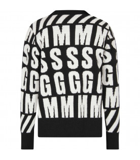 MSGM KIDS Black kids sweater with white maxi letters