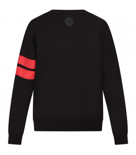 GCDS KIDS Black kids sweatshirt with white and red logo