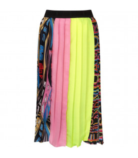 MSGM KIDS Colorful girl pleated skirt