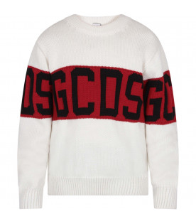 GCDS KIDS White kids sweater with black logo