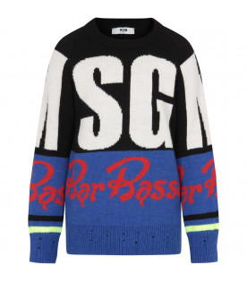 "MSGM KIDS Color block ""Bar Basso"" boy sweater with white maxi logo"
