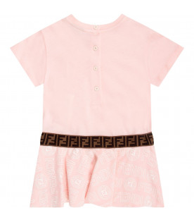 FENDI KIDS Pink babygirl dress with white iconic logo