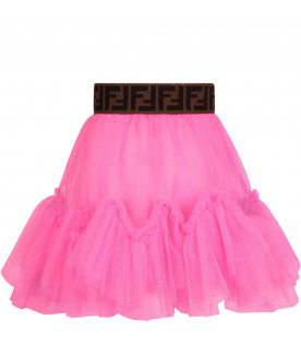 FENDI KIDS Gonna fucsia fluo per bambina con iconiche doppie FF