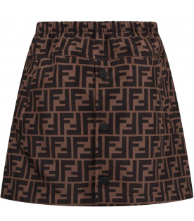 FENDI KIDS Brown girl skirt with iconic double FF