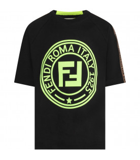 FENDI KIDS Black and neon yellow kids T-shirt with neon yellow double FF
