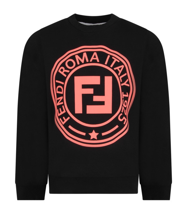 FENDI KIDS Black girl sweatshirt with neon fuchsia logo