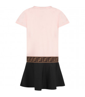 FENDI KIDS Pink and blue girl dress with black iconic logo