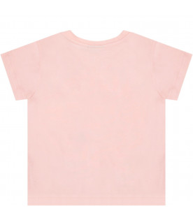 FENDI KIDS Pink babygirl T-shirt with neon pink double FF