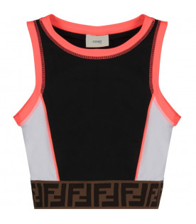 FENDI KIDS Multicolor girl top with iconic double FF