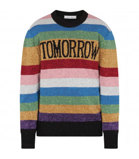 ALBERTA FERRETTI JUNIOR Multicolor girl sweater with black writing