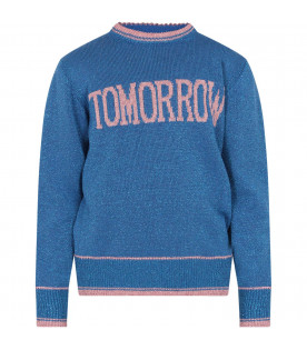 ALBERTA FERRETTI JUNIOR Azure girl sweater with pink writing