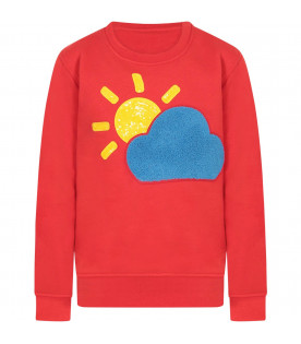 Red girl sweatshirt with colorful cloud and sun