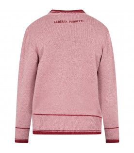 Pink girl sweater with red writing