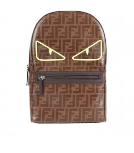 FENDI KIDS Brown boy backpack with doible FF