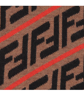 FENDI KIDS Brown kids scarf with double FF