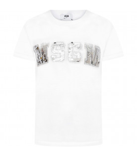 T-shirt bianca con logo in paillettes argento per bambina