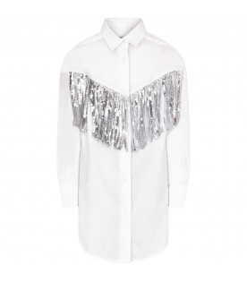 MSGM KIDS White girl shirt with silver fringes