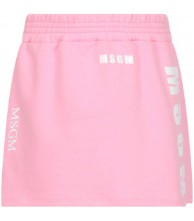 Pink sweatskirt with white and purple logos