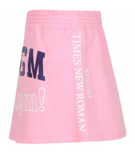 MSGM KIDS Pink sweatskirt with white and purple logos
