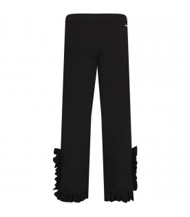 MSGM KIDS Black frilled girl pants with buttons