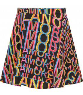 "MSGM KIDS Black girl ""Msgm amore mio"" skirt"