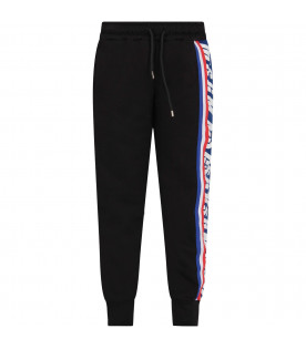 MSGM KIDS Black boy sweatpants with logo