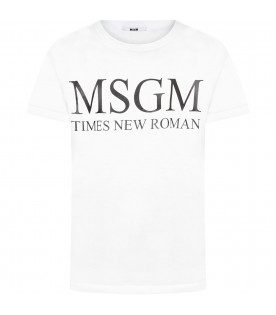 "MSGM KIDS White kids t-shirt with black  ""Msgm Times New Roman"""