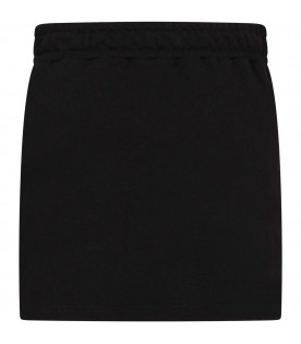 MSGM KIDS Black girl sweatskirt with white logo