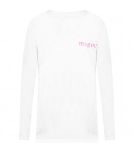 MSGM KIDS White girl t-shirt with Pink Times New Roman logos