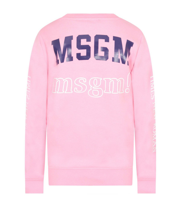 MSGM KIDS Pink girl sweatshirt with multi logos