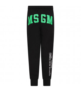 MSGM KIDS Black boy sweatpants with logos