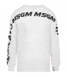 MSGM KIDS Melanged grey kids t-shirt with logo