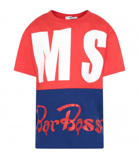 "MSGM KIDS Color block ""Bar Basso"" boy t-shirt with white maxi logo"