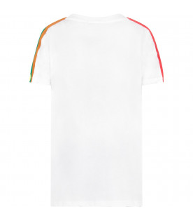 MSGM KIDS White boy t-shirt with colorful striped logo