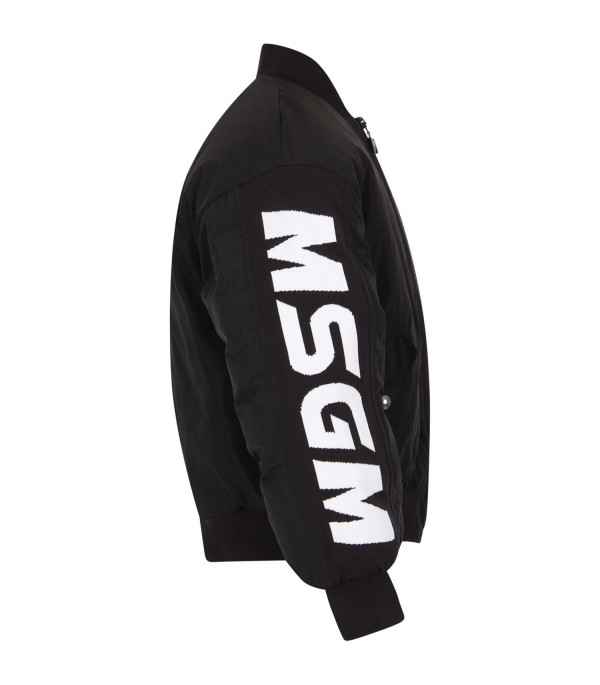 MSGM KIDS Black padded girl bomber jacket with white logo