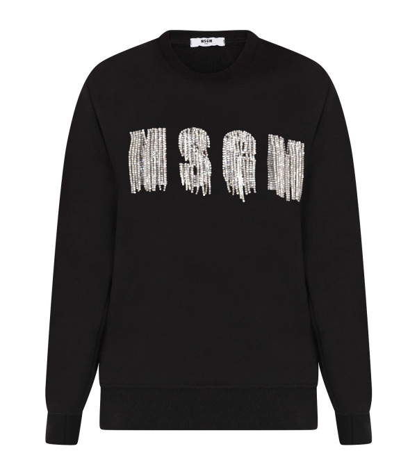 MSGM KIDS Black girl sweatshirt with sequined logo