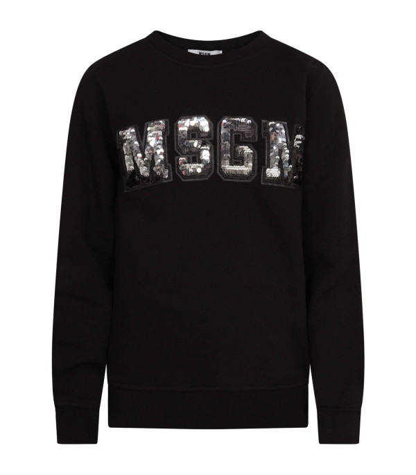 MSGM KIDS Black girl sweathsirt with rhinestoned logo