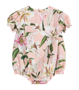 DOLCE & GABBANA KIDS Pink babygirl rompers with white lilies