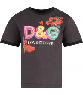 DOLCE & GABBANA KIDS Black girl T-shirt with colorful logo