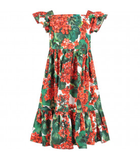 White girl dress with red geraniums