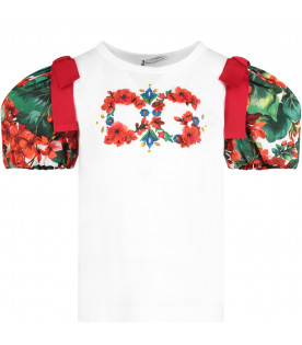 DOLCE & GABBANA KIDS White girl T-shirt with colorful logo