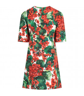 White girl dress with red geraniums and black logo