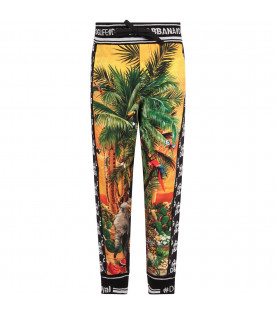 DOLCE & GABBANA KIDS Black boy sweatpant with colorful ''Hawaii'' theme
